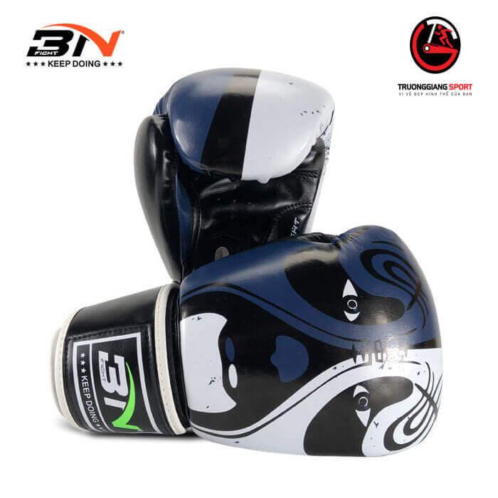 Găng tay boxing Bn new 2019 ( tím than ,trắng )